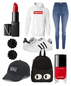 """Outfit #2"" by flanneryclarehogan ❤ liked on Polyvore featuring Jane Norman, adidas, Chanel, NARS Cosmetics and SO"