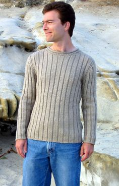 Knitty is a free web-only knitting magazine with a sense of humor. Mens Knit Sweater Pattern, Sweater Knitting Patterns, Knitting Designs, Men Sweater, Ribbed Sweater, Knitting Kits, Knitting Projects, Free Knitting, Knitting Magazine