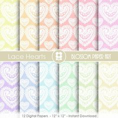 Digital Paper -  Lace Heart Digital Paper Pack  - Scrapbooking Paper - Scrapbook - Rainbow - INSTANT DOWNLOAD - 1674
