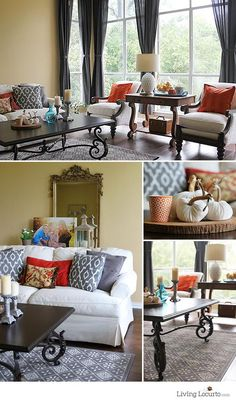 Before & After: Weekend Living Room Makeover - Fall Decorating on a budget ideas. LivingLocurto.com