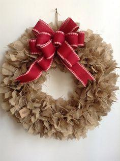 Burlap Christmas Wreath, Tan Wreath