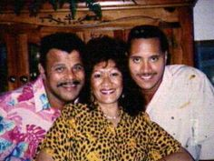 Rocky Johnson (Wayde Bowles) & his former wife Ata Maivia Johnson, posing with their son Dwayne.