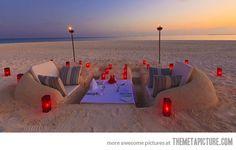 Sand castle dinning… better hope it's not windy