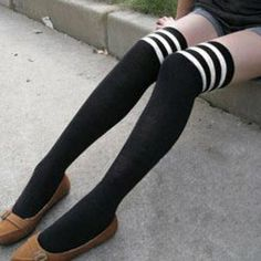 $4.01 Fashionable Black and White Stripe Elastic Cotton Stocking For Women I want it for #Holidayparty this year.