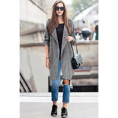 Yoins Plus Size Duster Coat with Adjustable Sleeves (1.985 RUB) ❤ liked on Polyvore featuring outerwear, coats, coats & jackets, grey, duster coat, gray coat, plus size coats, grey coat and womens plus coats