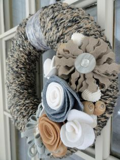 Yarn Wreath with Felt Flowers 10in Full Force Gail by cakoons, $34.00