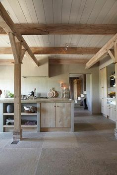 wood concrete kitchen rustic country-style provencal
