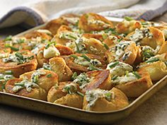 Roasted Potatoes Topped with Castello® Crumbled Blue Cheese and Chives #sidedish #bluecheese #recipe