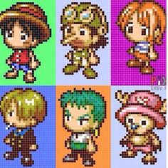 One Piece characters hama bead patterns by imbpixel