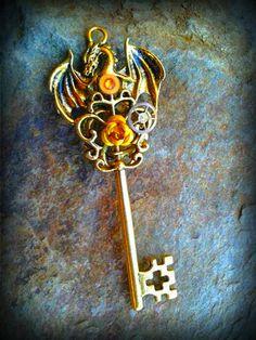 Golden Drake Fantasy Key by ArtbyStarlaMoore on Etsy, $17.00