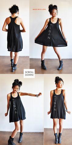 Vegan Clothing  Black Baby Doll Jersey Dress Size S by lamotif01, $39.99 - VEGAN SWAG