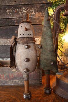 Snowman & tree on antique spool....