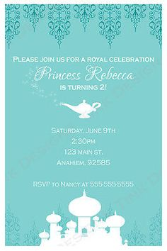 Princess Jasmine Aladdin Invitations Birthday Party Favors Arabian Nights | eBay
