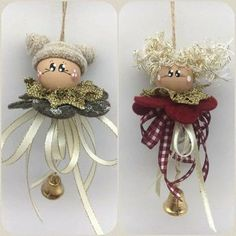 Add long ribbon chain to create a like girl s necklace add chain create girls long magnet necklace ribbon Burlap Christmas Decorations, Christmas Bells, Diy Christmas Ornaments, Homemade Christmas, Christmas Angels, Christmas Art, Christmas Projects, Holiday Crafts, Angel Ornaments