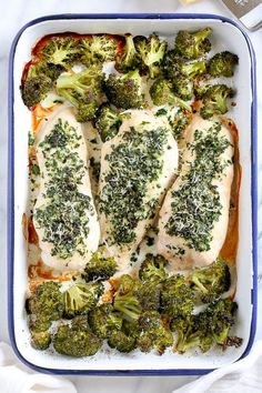 This simple Parmesan-Crusted Baked Chicken Breast is made on a sheet pan with broccoli, for a one pan dish that is so quick, and the best part, easy clean up!
