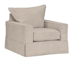 PB Comfort Square Arm Armchair Slipcover, Knife Edge, Sunbrella(R) Performance Sahara Weave Mushroom
