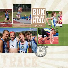 track & field scrap booking layouts | This layout includes the following Pixelbooking product(s):