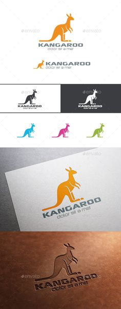 Logo Kangaroo Silhouette  — PSD Template • Only available here ➝…