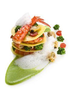 ARNOLFO RISTORANTE Sfoglia di pasta fresca, Gamberi rossi, Vongole veraci , Broccoli