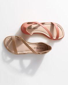Klub Nico Jasper Asymmetrical-Strap Sandals in Coral. $128 [garnet hill]