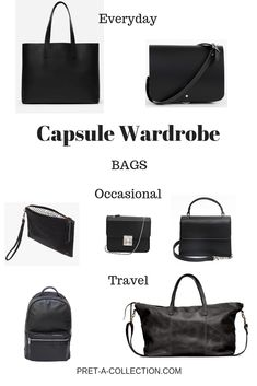 Capsule Wardrobe: Bags - Pret-a-Collection In the morning I am standing in front of the mirror and keep rethinking my outfit. Is this bag goes with everything else, or the colour is not just right? It lo Capsule Wardrobe, Shoe Wardrobe, Wardrobe Basics, Professional Wardrobe, Work Wardrobe, Summer Minimalist, Minimalist Bag, Minimalist Fashion, Minimalist Wardrobe Essentials