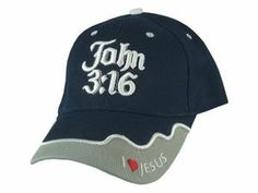 John 3 :16 Embroidered Lettering and Adjustable Hook Navy Cap