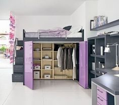 make in boy theme.... solves closet and bed in one.