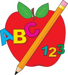 Great Clip Art for Back To School: ABC Apple and Pencil