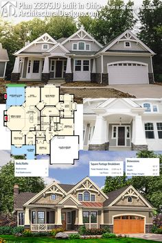 Architectural Designs House Plan 23375JD comes to life in Ohio (on top). More photos online. The home gives you 3 beds, 2 baths and over 2,300 sq. ft. of heated living space. Ready when you are. Where do YOU want to build? #23375JD #adhouseplans #architecturaldesigns #houseplan #architecture #newhome #newconstruction #newhouse #homedesign #dreamhome #dreamhouse #homeplan #architecture #architect #craftsmanhouse #craftsmanplan #craftsmanhome