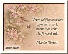 'Vriendelijke woorden zijn soms kort, maar hun echo sterft nooit uit.' - Moeder Teresa
