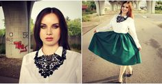 green skirt big lace necklace outfit http://drewsbeauty.blogspot.sk/2015/11/elegantna-salonka.html