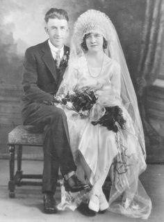 Studio wedding portrait of Theresa Jacob and Robert Leske, married on March 25, 1931