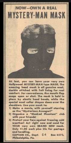 Mystery Man Mask this is more than a bit creepy Funny Vintage Ads, Vintage Humor, Retro Vintage, Funny Ads, Fun Funny, Old Advertisements, Bizarre, Retro Ads, Retro Advertising
