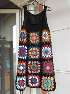 #Crochet Granny Square Dress