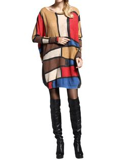 Women Pullover Printing Plaid Knitted Loose Mid-Long Basic Sweater Dress
