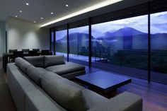 Interior, Divine Japanese Kidosaki House In Asamayama By Featuring Living Room Interior Design With Sectional Sofa, Hardwood Floor, Coffee Table And Large Glass Wall: Amazing Japanese House Design in Modern Look for Living