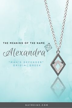 """Alexandra is of Greek origin meaning """"man's defender."""" Learn more about the meaning of the name Alexandra. Bridesmaid Jewelry, Bridesmaid Gifts, Personalized Necklace, Personalized Gifts, Lady In Waiting, My Beautiful Daughter, Name Art, The Secret History, Names With Meaning"""