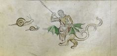 Knight v Snail IV: The Snails Attack (from the Queen Mary Psalter, England, 1310-1320, Royal MS 2 B VII, f. 148r)