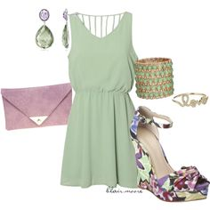 Flower power on Polyvore- Everything but the wedges.