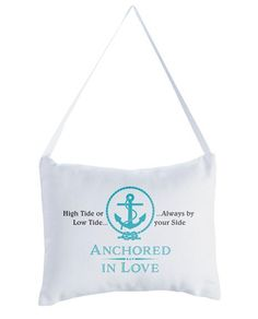 "Celebrate your beach themed or destination wedding with this ""Anchored in Love"" ring pillow. Ring pillow is canvas and measures 8.5"" x 6.75""."