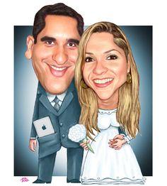 Caricaturas para o casamento de Pablo e Nelma