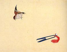 北斎 はさみと雀