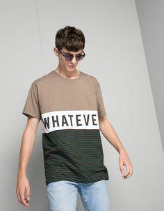T-shirt riscas e print - T-shirts - Bershka Portugal