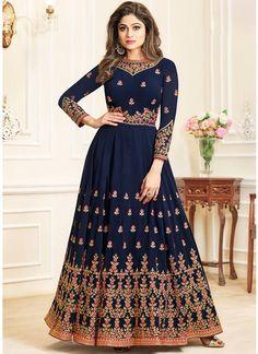 Delightful Georgette Designer Anarkali Suit in Blue Pakistani Formal Dresses, Eid Dresses, Indian Dresses, Indian Outfits, Dresses Online, Bridal Dresses, Anarkali Dress, Anarkali Suits, Punjabi Dress