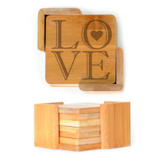 Square Wood Coasters (6) - LOVE