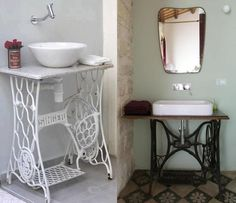 Bathroom / singer sew machine LOVE these! Sewing Machine Drawers, Old Sewing Machines, Vanity Singer, Furniture Update, Industrial Bathroom, Inspired Homes, House Design, Home Decor, Follow Follow