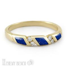 """""""Starry Desert - Wind"""" This gold, diamond and lapis wedding band will dress up any engagement ring or can be worn on its own as a stunning right-hand ring! 