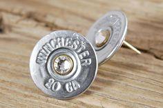Nickel Shotgun Shell Bullet Earring Studs Sterling Silver 20 Gauge 12 on Etsy, $24.95