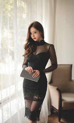 South Korea Fashion, Secretary Outfits, Glamour Ladies, Lace Dress Styles, Cute Asian Girls, Beautiful Asian Women, Korean Women, Asian Fashion, Asian Woman