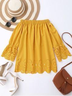 Off The Shoulder Laser Cut Top - YELLOW S